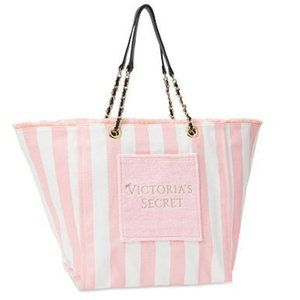 NWT Victoria Secrets Pink & White Striped Tote